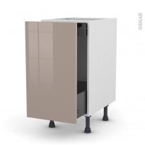 Meuble de cuisine - Bas coulissant - KERIA Moka - 1 porte 1 tiroir à l'anglaise - L40 x H70 x P58 cm
