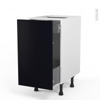 Meuble de cuisine - Bas coulissant - GINKO Noir - 1 porte 1 tiroir à l'anglaise - L40 x H70 x P58 cm