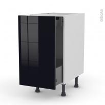 Meuble de cuisine - Bas coulissant - KERIA Noir - 1 porte 1 tiroir à l'anglaise - L40 x H70 x P58 cm