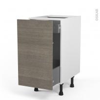 Meuble de cuisine - Bas coulissant - STILO Noyer Naturel - 1 porte 1 tiroir à l'anglaise - L40 x H70 x P58 cm