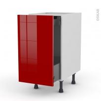 Meuble de cuisine - Bas coulissant - STECIA Rouge - 1 porte 1 tiroir à l'anglaise - L40 x H70 x P58 cm
