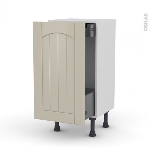 SILEN Argile - Meuble bas coulissant  - 1 porte-1 tiroir anglaise - L40xH70xP58