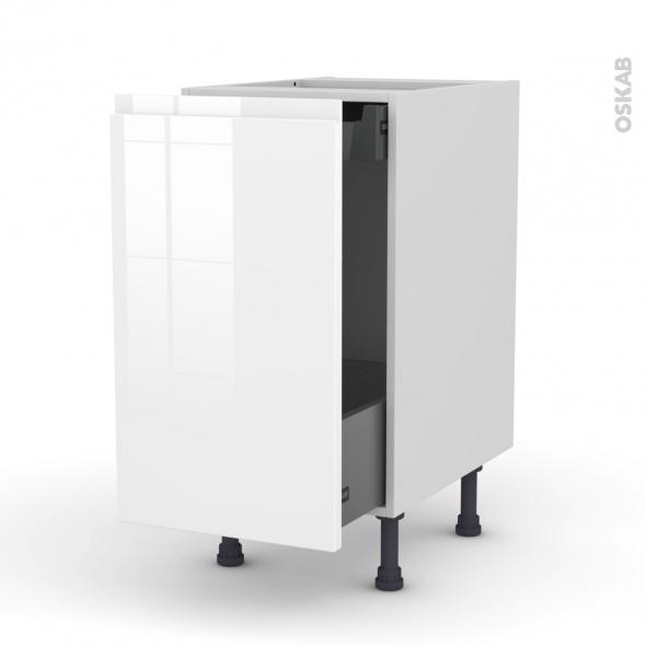 Meuble de cuisine - Bas coulissant - IPOMA Blanc brillant - 1 porte 1 tiroir à l'anglaise - L40 x H70 x P58 cm