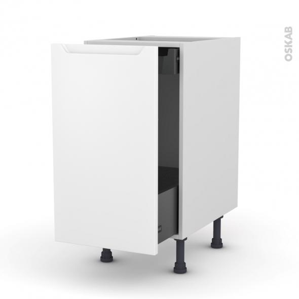 Meuble de cuisine - Bas coulissant - PIMA Blanc - 1 porte 1 tiroir à l'anglaise - L40 x H70 x P37 cm