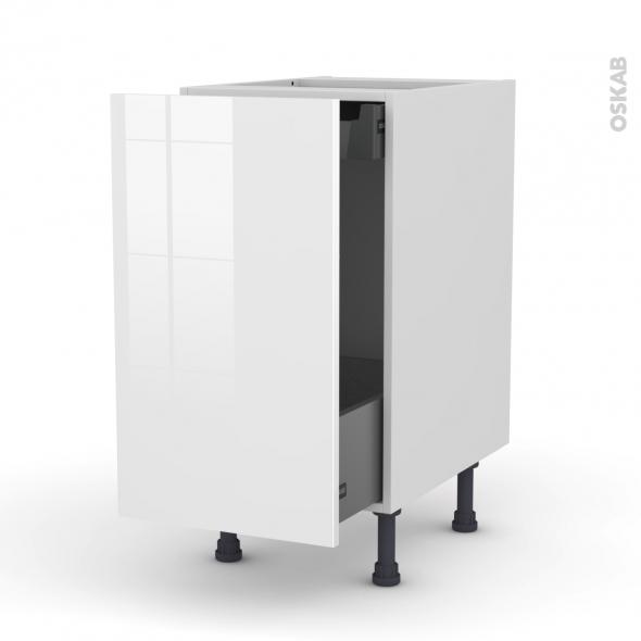 STECIA Blanc - Meuble bas coulissant  - 1 porte-1 tiroir anglaise - L40xH70xP58