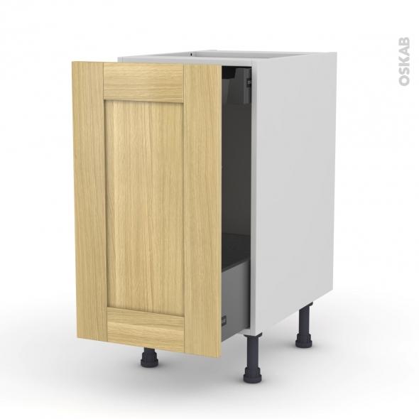 BASILIT Bois Brut - Meuble bas coulissant  - 1 porte -1 tiroir anglaise - L40xH70xP58