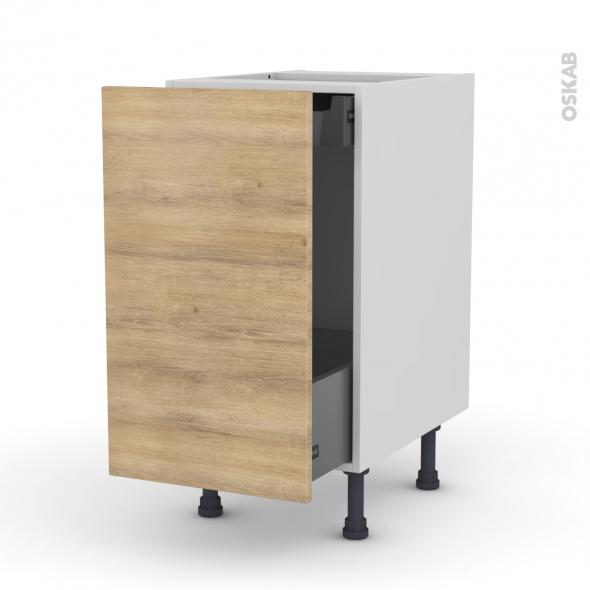 Meuble de cuisine - Bas coulissant - HOSTA Chêne naturel - 1 porte 1 tiroir à l'anglaise - L40 x H70 x P58 cm