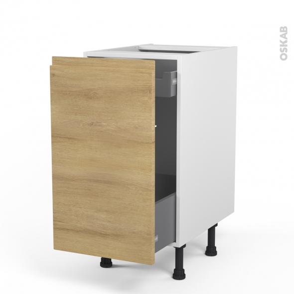 Meuble de cuisine - Bas coulissant - IPOMA Chêne naturel - 1 porte 1 tiroir à l'anglaise - L40 x H70 x P58 cm