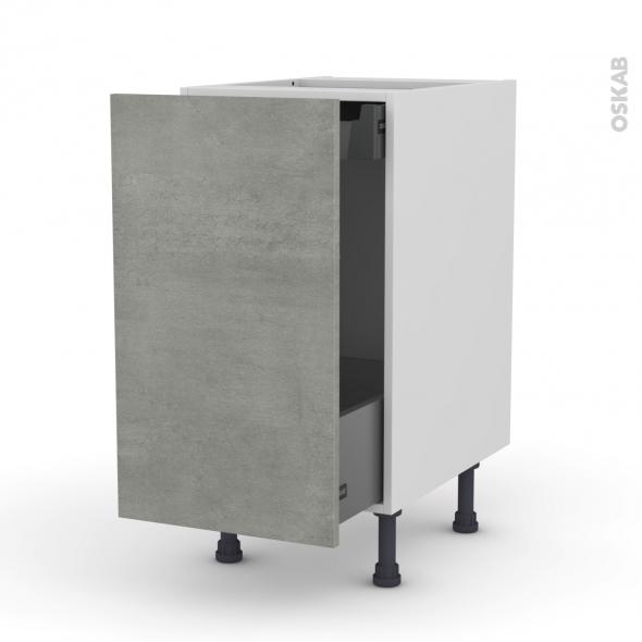 FAKTO Béton - Meuble bas coulissant  - 1 porte-1 tiroir anglaise - L40xH70xP58