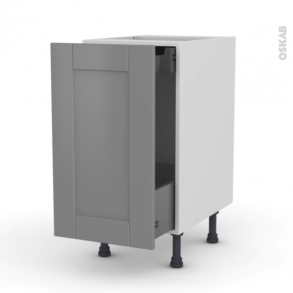 FILIPEN Gris - Meuble bas coulissant  - 1 porte -1 tiroir anglaise - L40xH70xP58