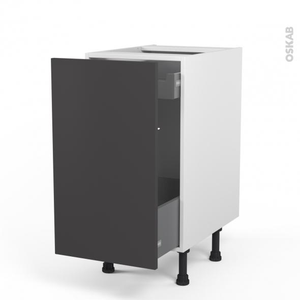 GINKO Gris - Meuble bas coulissant  - 1 porte-1 tiroir anglaise - L40xH70xP58
