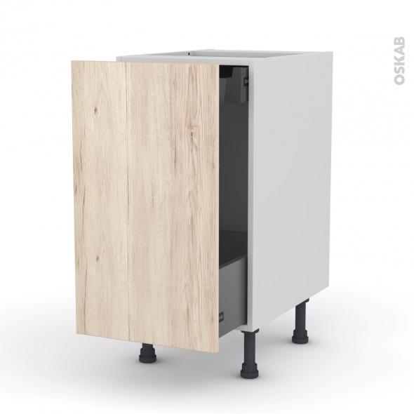 Meuble de cuisine - Bas coulissant - IKORO Chêne clair - 1 porte 1 tiroir à l'anglaise - L40 x H70 x P58 cm