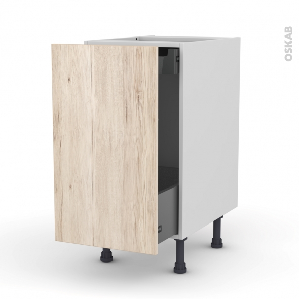 IKORO Chêne clair - Meuble bas coulissant  - 1 porte-1 tiroir anglaise - L40xH70xP58