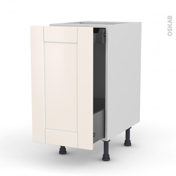 Meuble de cuisine - Bas coulissant - FILIPEN Ivoire - 1 porte 1 tiroir à l'anglaise - L40 x H70 x P58 cm
