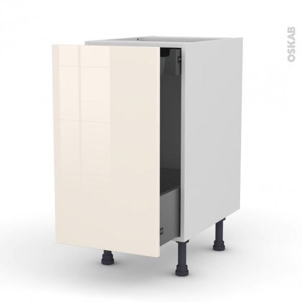 Meuble de cuisine - Bas coulissant - KERIA Ivoire - 1 porte 1 tiroir à l'anglaise - L40 x H70 x P58 cm