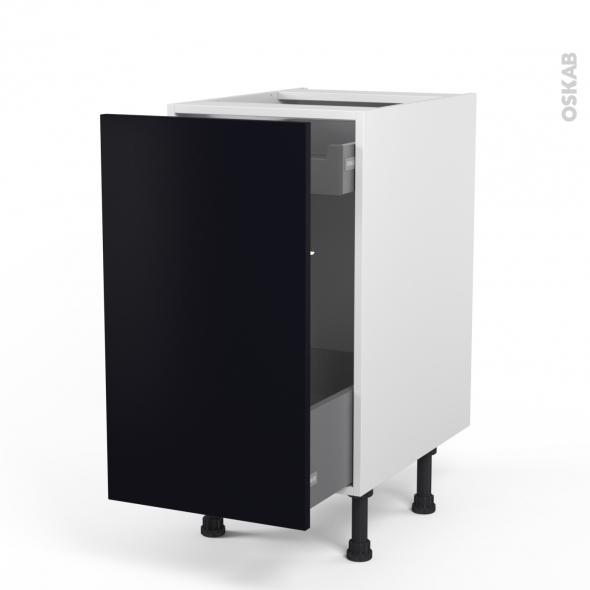 GINKO Noir - Meuble bas coulissant  - 1 porte-1 tiroir anglaise - L40xH70xP58