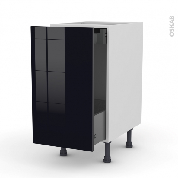 KERIA Noir - Meuble bas coulissant  - 1 porte-1 tiroir anglaise - L40xH70xP58