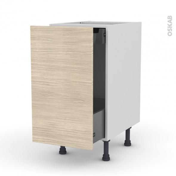 Meuble de cuisine - Bas coulissant - STILO Noyer Blanchi - 1 porte 1 tiroir à l'anglaise - L40 x H70 x P58 cm