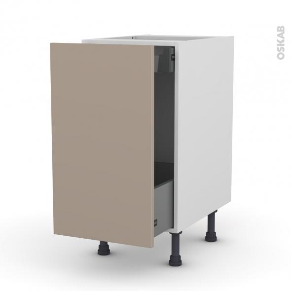 Meuble de cuisine - Bas coulissant - GINKO Taupe - 1 porte 1 tiroir à l'anglaise - L40 x H70 x P58 cm