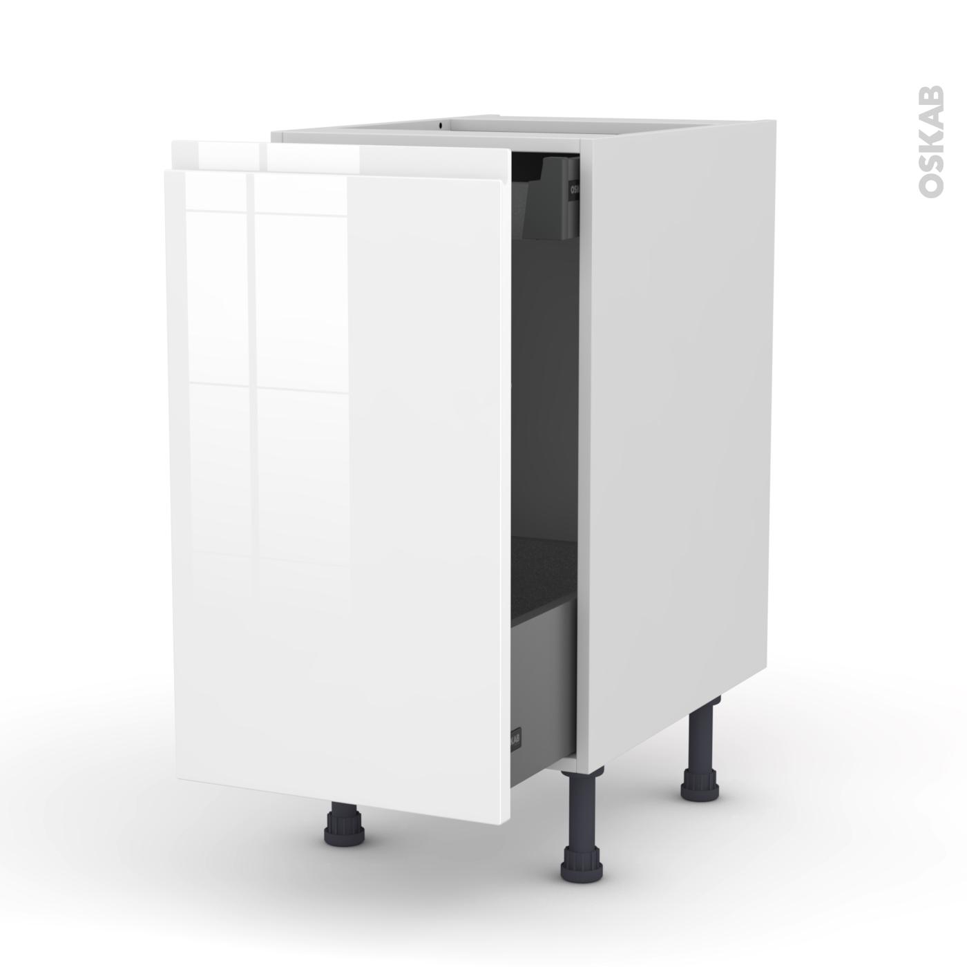 Meuble de cuisine Bas coulissant IPOMA Blanc brillant 1 porte 1 tiroir à  l\'anglaise L40 x H70 x P58 cm - Oskab