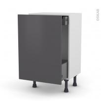 Meuble de cuisine - Bas coulissant - GINKO Gris - 1 porte 1 tiroir à l'anglaise - L50 x H70 x P37 cm