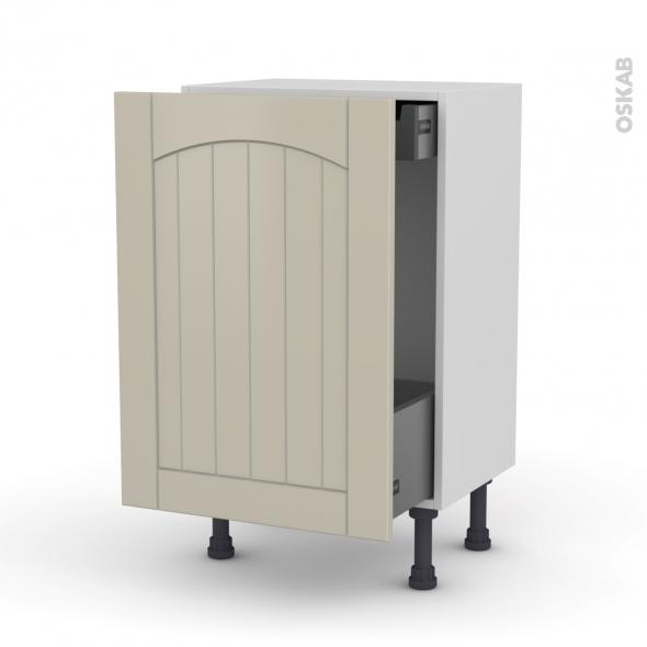 SILEN Argile - Meuble bas coulissant - 1 porte-1 tiroir anglaise - L50xH70xP37