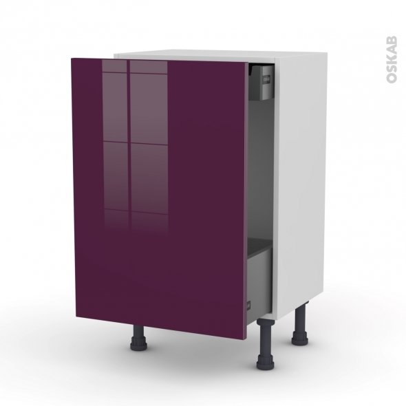 Meuble de cuisine - Bas coulissant - KERIA Aubergine - 1 porte 1 tiroir à l'anglaise - L50 x H70 x P37 cm