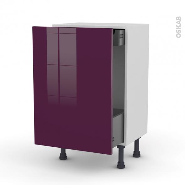 KERIA Aubergine - Meuble bas coulissant - 1 porte-1 tiroir anglaise - L50xH70xP37