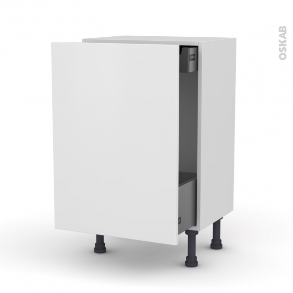 Meuble de cuisine - Bas coulissant - GINKO Blanc - 1 porte 1 tiroir à l'anglaise - L50 x H70 x P37 cm