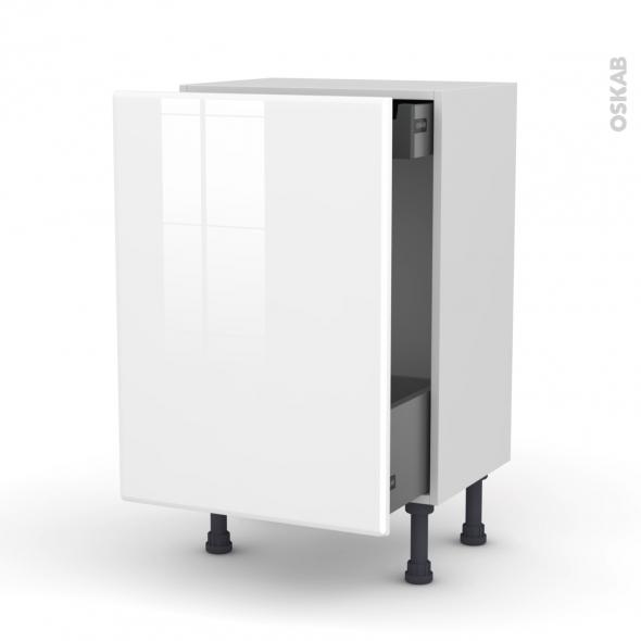 IRIS Blanc - Meuble bas coulissant - 1 porte-1 tiroir anglaise - L50xH70xP37