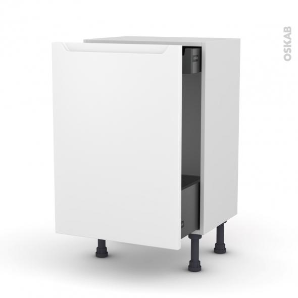 Meuble de cuisine - Bas coulissant - PIMA Blanc - 1 porte 1 tiroir à l'anglaise - L50 x H70 x P37 cm