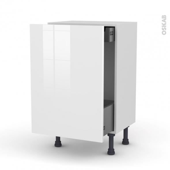 STECIA Blanc - Meuble bas coulissant - 1 porte-1 tiroir anglaise - L50xH70xP37