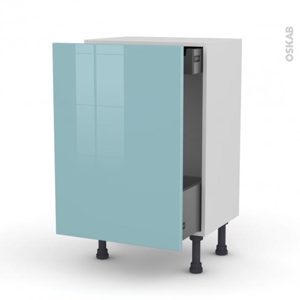 KERIA Bleu - Meuble bas coulissant - 1 porte-1 tiroir anglaise - L50xH70xP37
