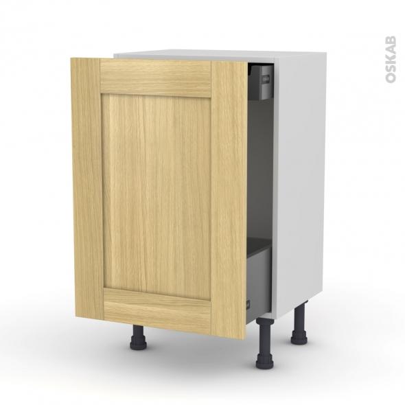 BASILIT Bois brut - Meuble bas coulissant - 1 porte-1 tiroir anglaise - L50xH70xP37