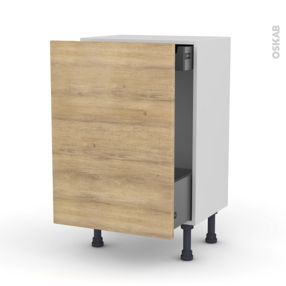 HOSTA Chêne naturel - Meuble bas coulissant - 1 porte-1 tiroir anglaise - L50xH70xP37