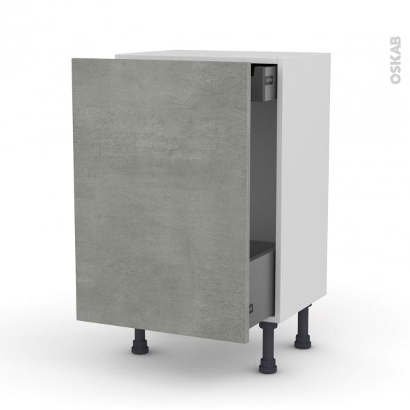 Meuble de cuisine - Bas coulissant - FAKTO Béton - 1 porte 1 tiroir à l'anglaise - L50 x H70 x P37 cm