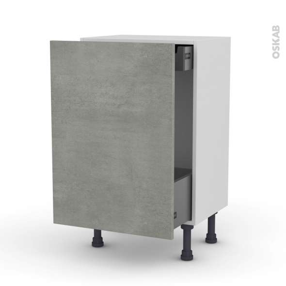 FAKTO Béton - Meuble bas coulissant - 1 porte-1 tiroir anglaise - L50xH70xP37