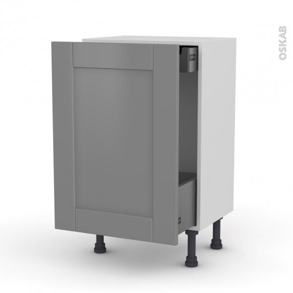 Meuble de cuisine - Bas coulissant - FILIPEN Gris - 1 porte 1 tiroir à l'anglaise - L50 x H70 x P37 cm