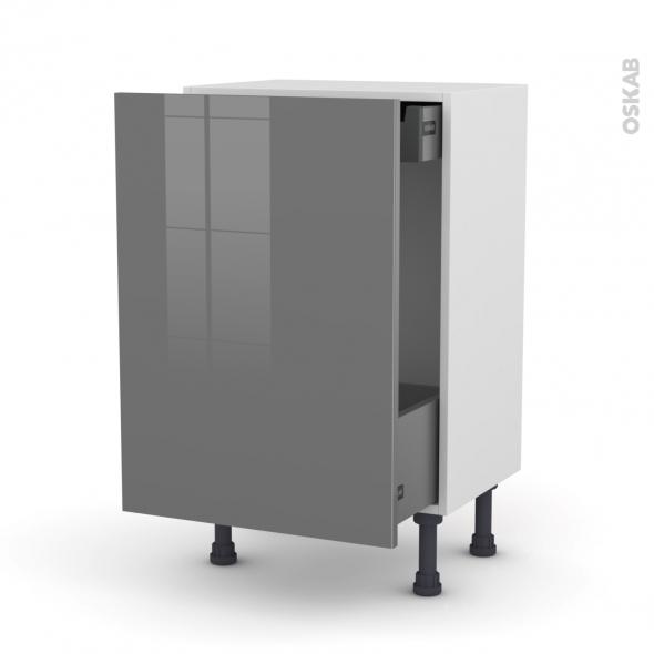Meuble de cuisine - Bas coulissant - STECIA Gris - 1 porte 1 tiroir à l'anglaise - L50 x H70 x P37 cm