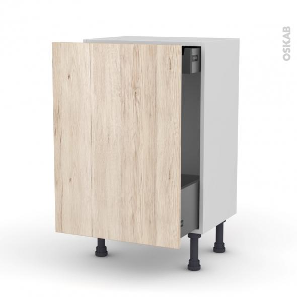 Meuble de cuisine - Bas coulissant - IKORO Chêne clair - 1 porte 1 tiroir à l'anglaise - L50 x H70 x P37 cm