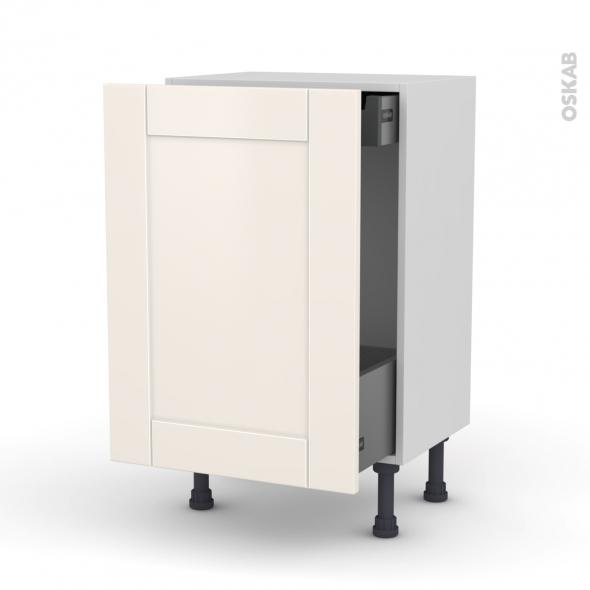 Meuble de cuisine - Bas coulissant - FILIPEN Ivoire - 1 porte 1 tiroir à l'anglaise - L50 x H70 x P37 cm