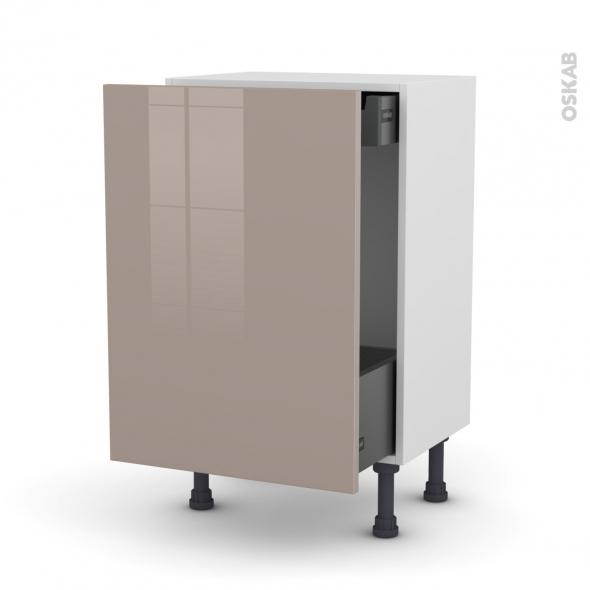 Meuble de cuisine - Bas coulissant - KERIA Moka - 1 porte 1 tiroir à l'anglaise - L50 x H70 x P37 cm