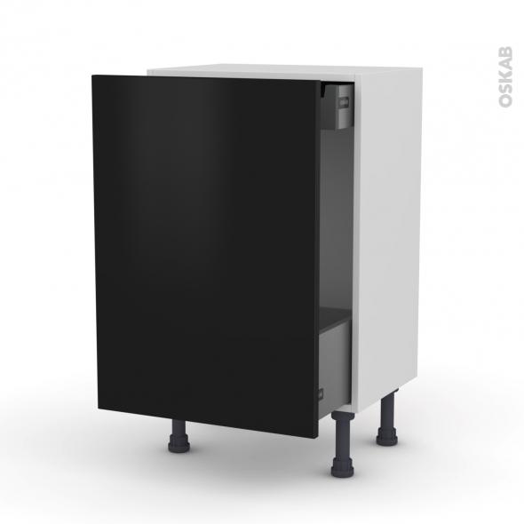 GINKO Noir - Meuble bas coulissant - 1 porte-1 tiroir anglaise - L50xH70xP37