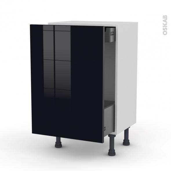 Meuble de cuisine - Bas coulissant - KERIA Noir - 1 porte 1 tiroir à l'anglaise - L50 x H70 x P37 cm