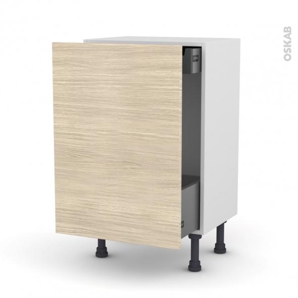 Meuble de cuisine - Bas coulissant - STILO Noyer Blanchi - 1 porte 1 tiroir à l'anglaise - L50 x H70 x P37 cm