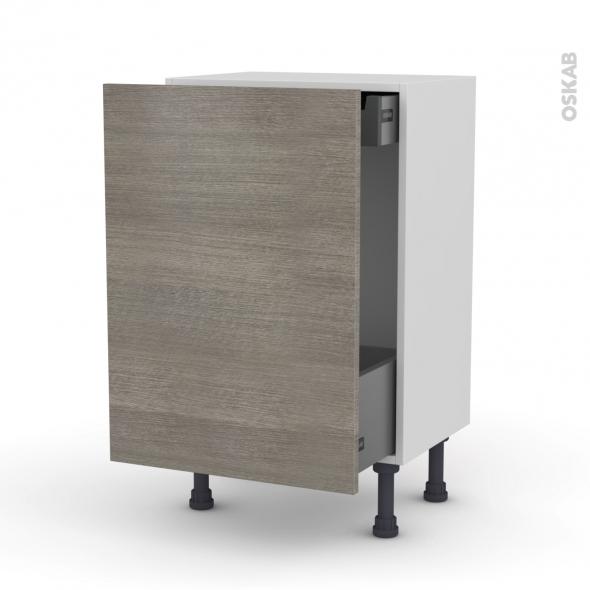 Meuble de cuisine - Bas coulissant - STILO Noyer Naturel - 1 porte 1 tiroir à l'anglaise - L50 x H70 x P37 cm