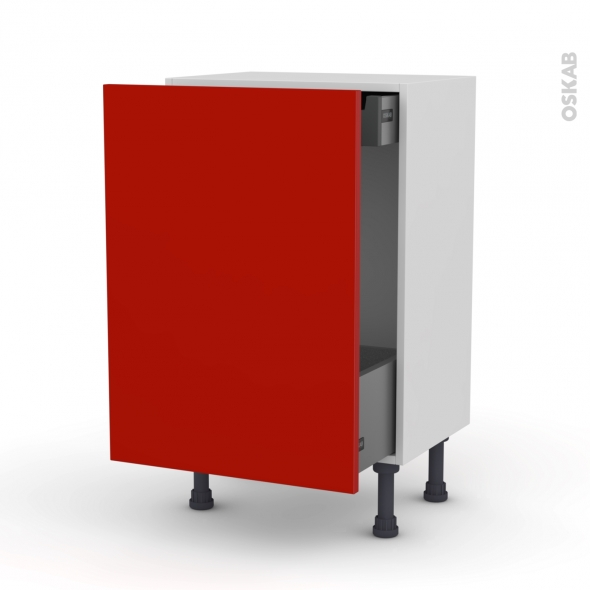 GINKO Rouge - Meuble bas coulissant - 1 porte-1 tiroir anglaise - L50xH70xP37