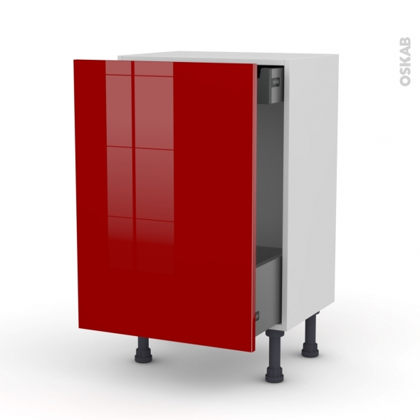 Meuble de cuisine - Bas coulissant - STECIA Rouge - 1 porte 1 tiroir à l'anglaise - L50 x H70 x P37 cm