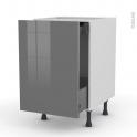 STECIA Gris - Meuble bas coulissant  - 1 porte-1 tiroir anglaise - L50xH70xP58