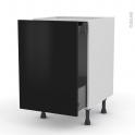 Meuble de cuisine - Bas coulissant - GINKO Noir - 1 porte 1 tiroir à l'anglaise - L50 x H70 x P58 cm